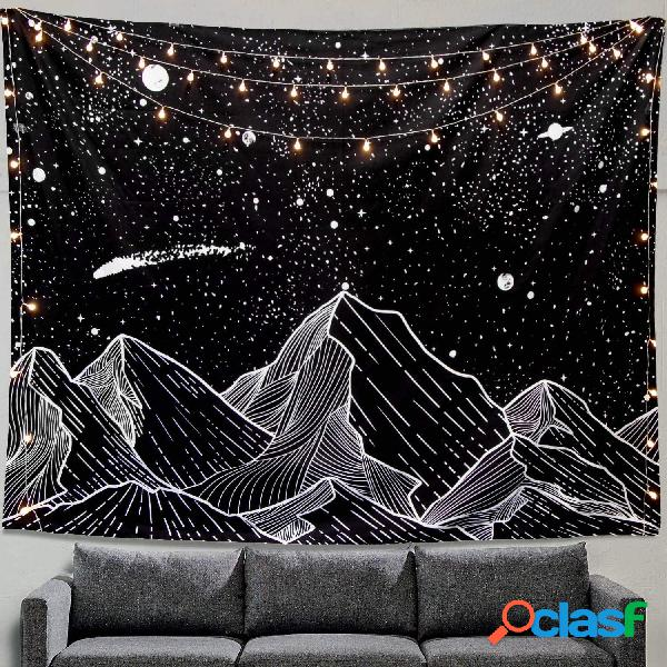 Tapiz de luna de montaña para colgar en la pared, tapiz de arte en blanco y negro, decoración del hogar
