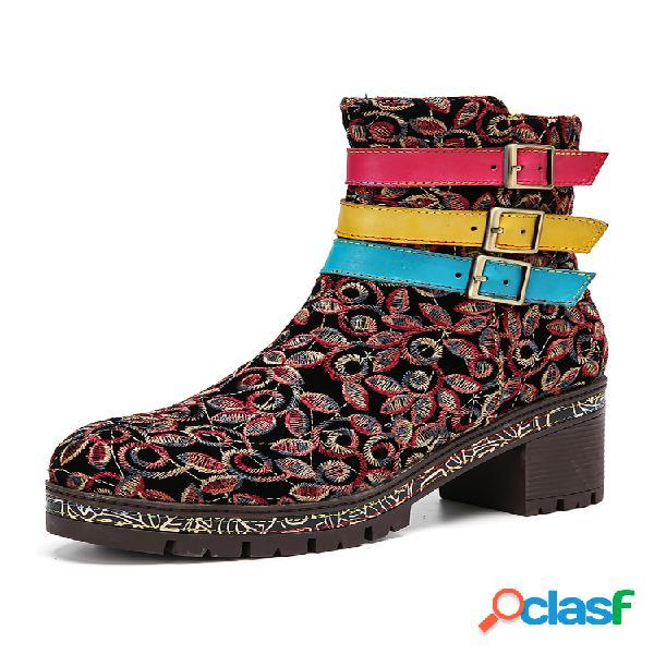 Socofy tela retro bordado floral tres colores cuero hebilla correa cremallera tacón grueso corto botas