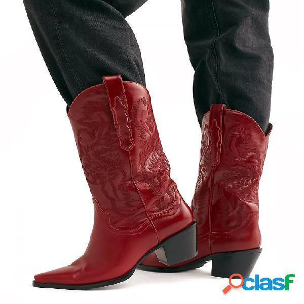 Plus talla retro mujer patrón pu tacón ancho bordado occidental vaquero a media pierna botas
