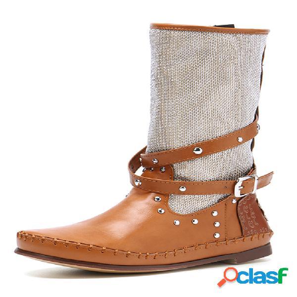 Mujer tamaño grande cinturón hebilla remache costura empalme mitad de pantorrilla montar botas