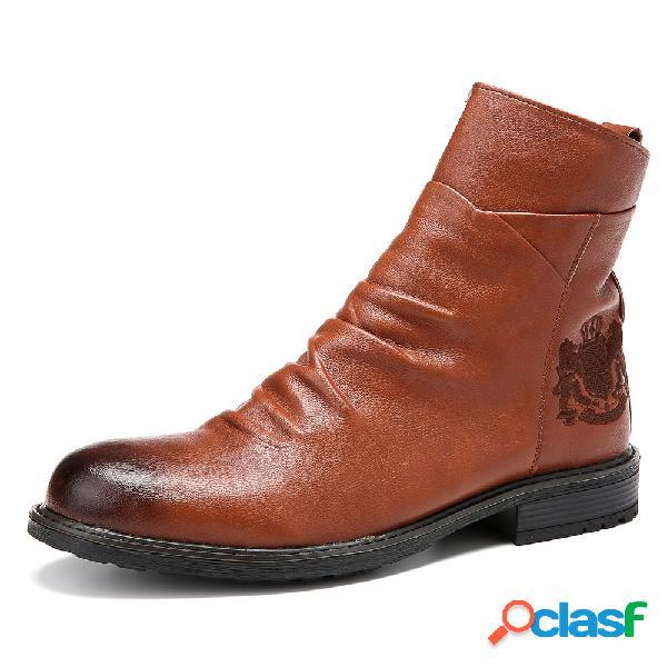 Hombre vendimia vaquero con cremallera lateral a media pierna botas