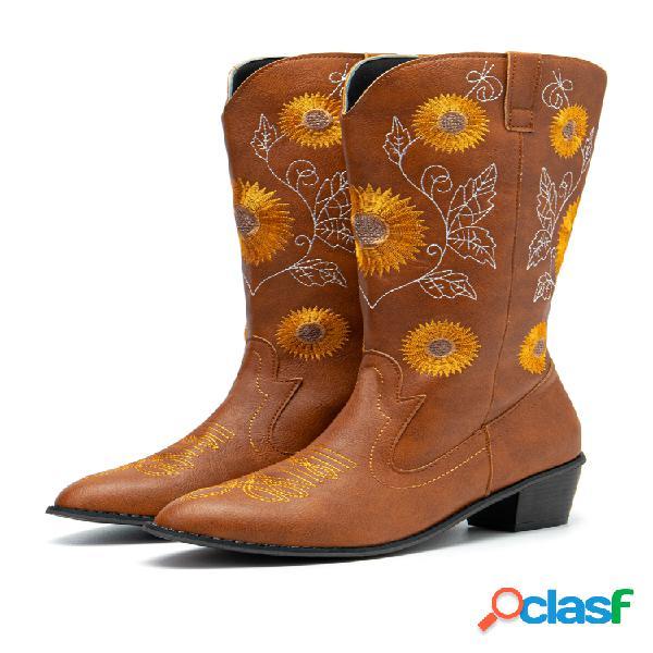 Girasoles de gran tamaño bordados con tacón grueso y puntera en punta vaquero a media pierna botas