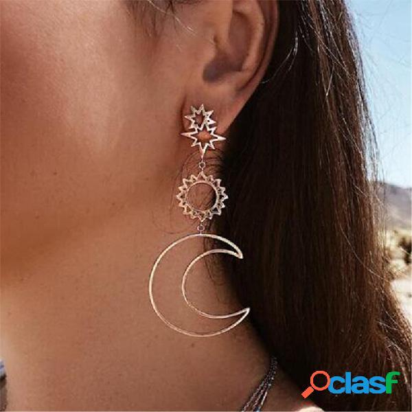 Estilo retro sol luna pendientes estilo irregular largo oreja gota de aleación de oro pendientes para mujer