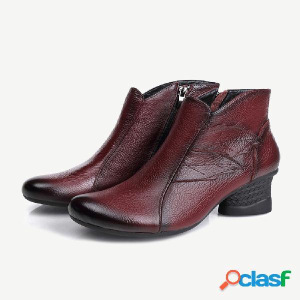 Mujer estilo europeo negro cremallera forrada cálida tacón grueso tobillo botas