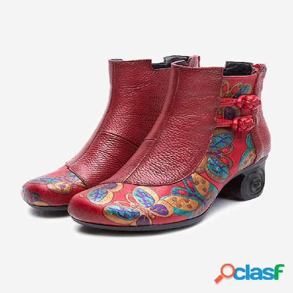 Mujer retro hecho a mano piel genuina flor tacón grueso botas