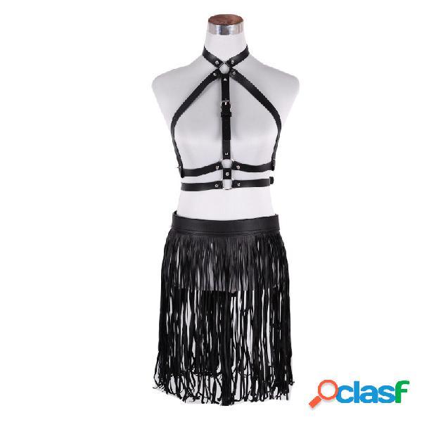 Mujer traje corto cinturón con flecos poliéster negro cinturóns remache borlas cortas hebilla traje cinturón