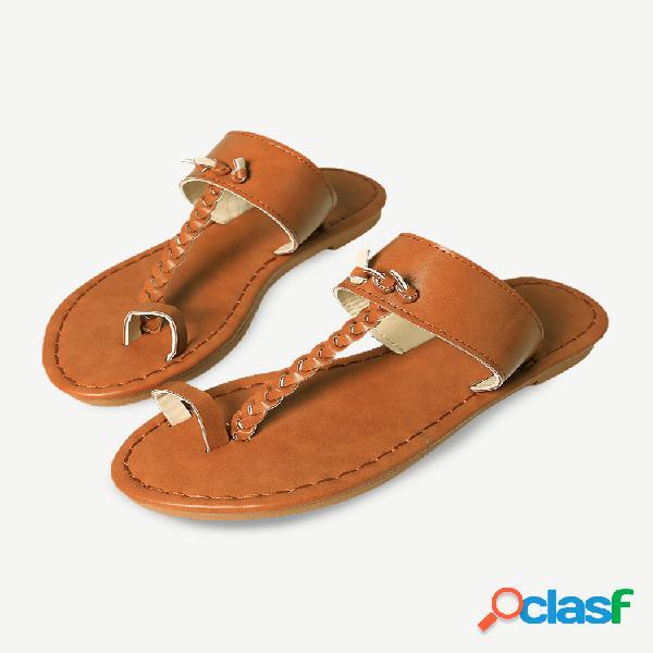 Mujer chanclas de verano retro trenzadas flat slide sandalias