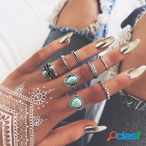 Vendimia turquesa juego de 8 piezas de estilo retro de aros de aleación para mujer kit de anillos de dedo