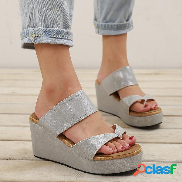 Big size mujer casual color sólido clip toe slide wedges sandalias