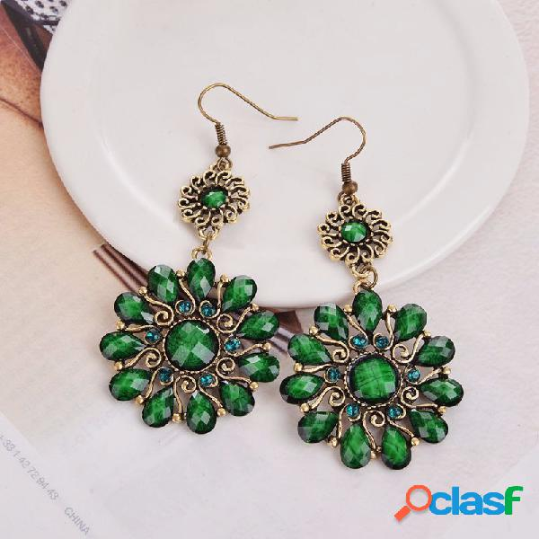 Bohemian hallow flower gem pendientes estilo retro oreja drop para mujer