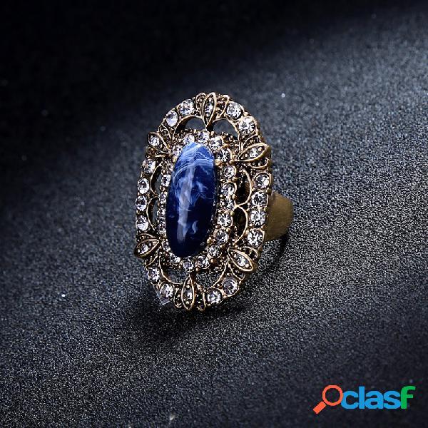Elegante joya azul anillo de piedra rhinestone estilo retro mujer anillo para regalo