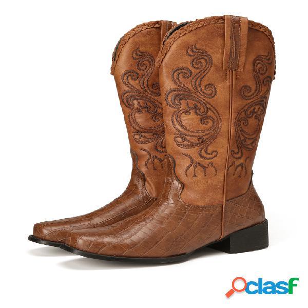 Plus talla mujer bordado empalme tacón grueso media pierna vaquero botas