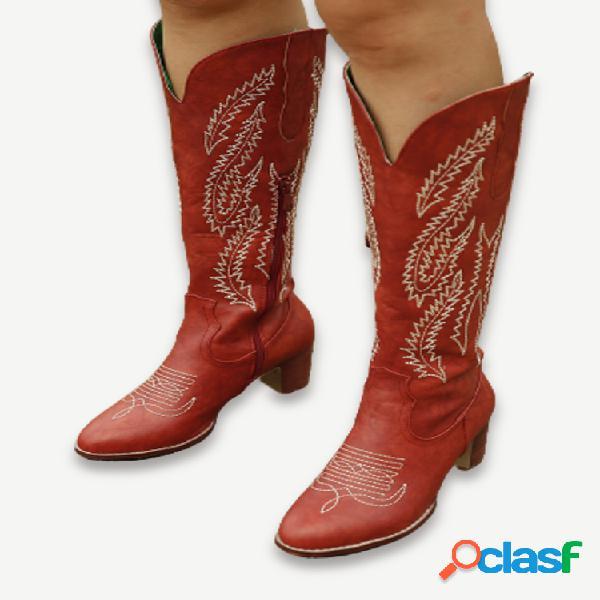 Plus talla mujer retro rojo punta puntiaguda bordado tacón grueso cremallera vaquero botas
