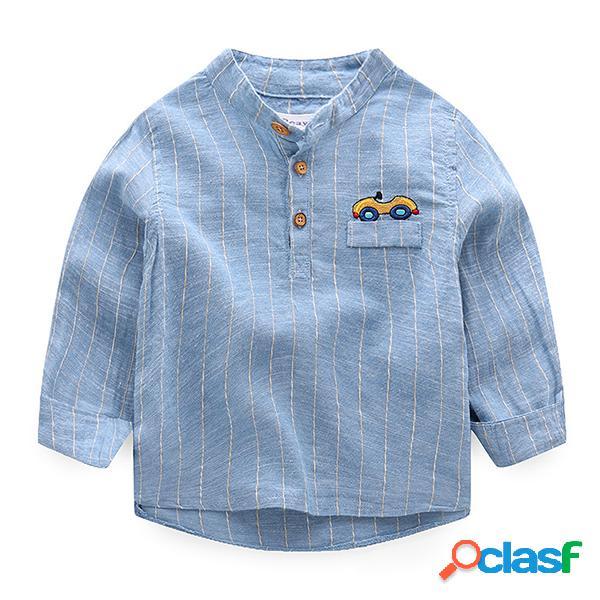 Primavera niños niños patrón de manga larga camisas casuales tops para 2y-9y