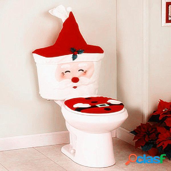 Año nuevo navidad santa asiento de inodoro cubierta alfombra baño conjunto decoraciones de navidad para el hogar