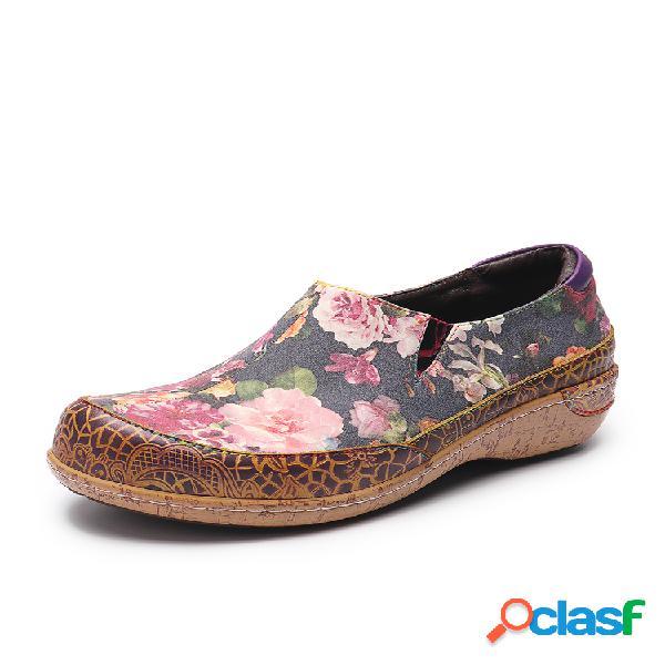 Socofy super comfy bloom flowers splicing retro veins costura slip on zapatos planos de cuero para mujer