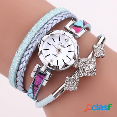 Duoya d255 flower dial show fashion mujer reloj de pulsera tourist vestido reloj de cuarzo de estilo retro