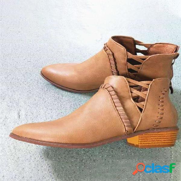 Plus talla mujer transpirable ahuecado cremallera tacón grueso tobillo botas