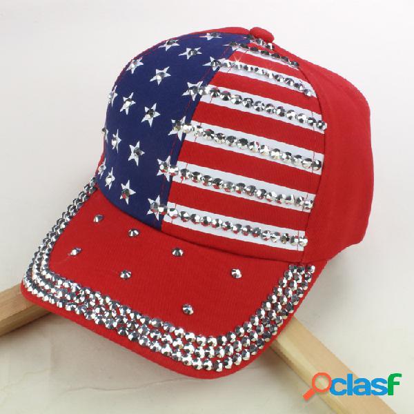 Gorra de béisbol unisex con bandera americana y denim de diamante lavada al aire libre dom Sombrero