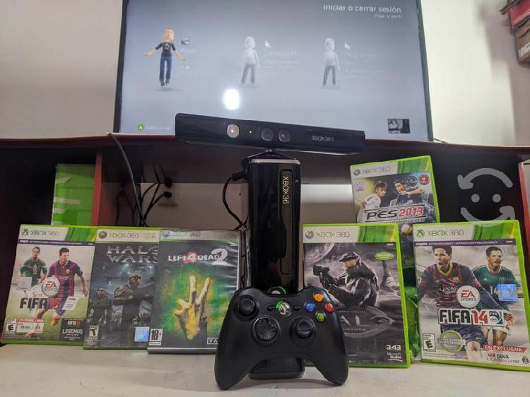 Xbox360 slim 250gb con kinect/32 juegos descargado