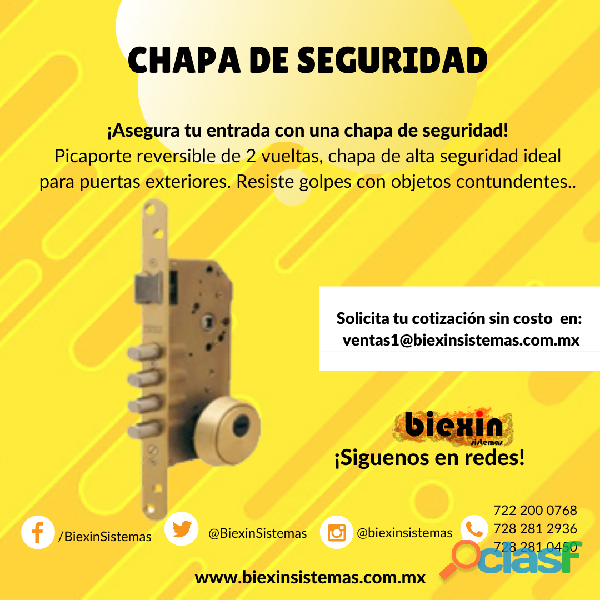 Chapa para puertas de seguridad
