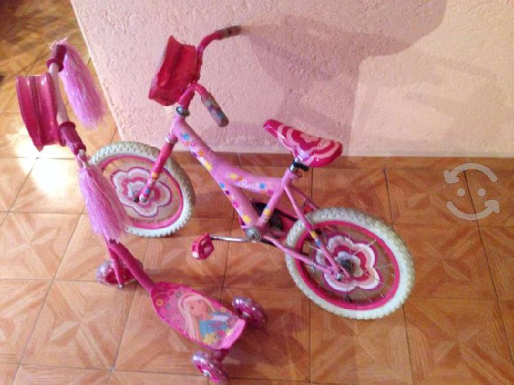 Bicicleta y patin marca barbie para niñ@