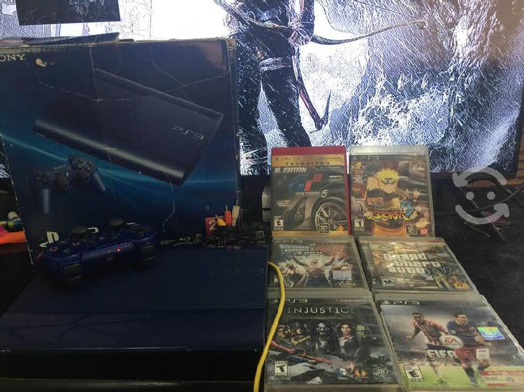 Playstation 3 slim edición gran turismo con juegos