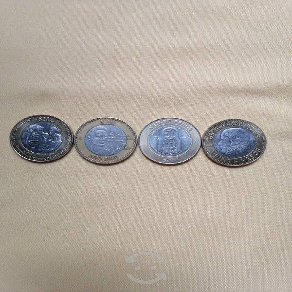 4 monedas de 20 pesos