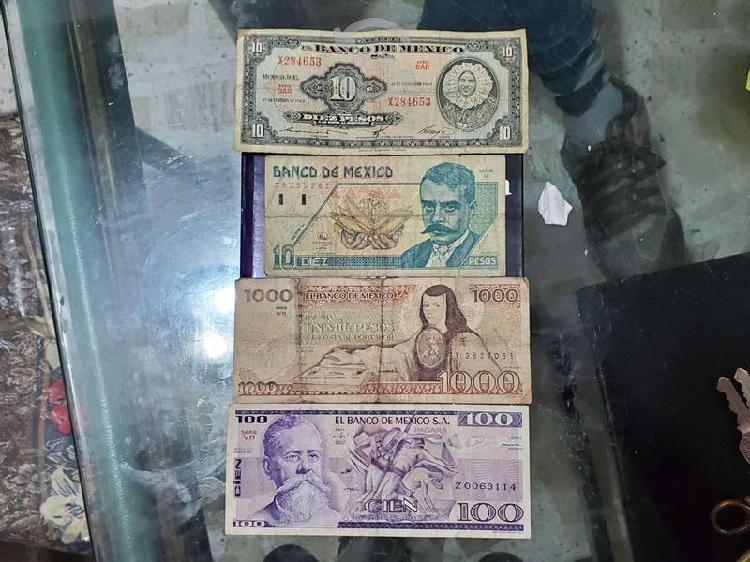 Billetes antiguos de colección 10 100 1000