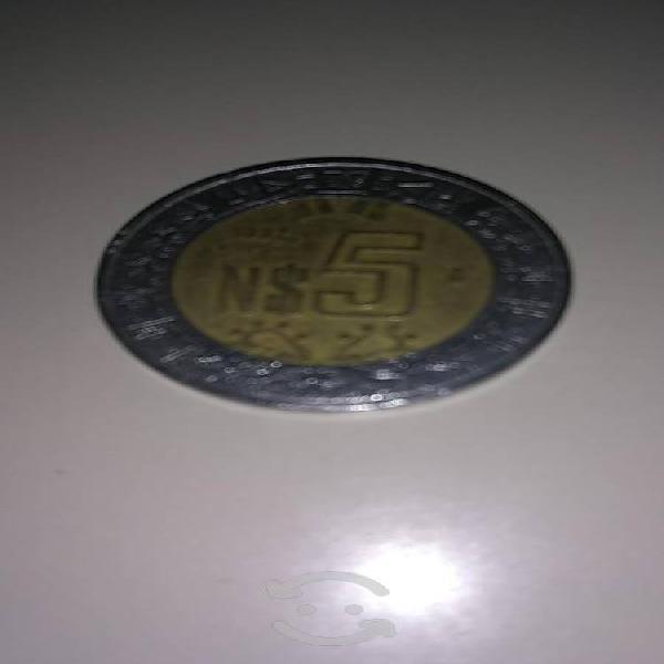 Moneda de 5 nuevos pesos año 1992