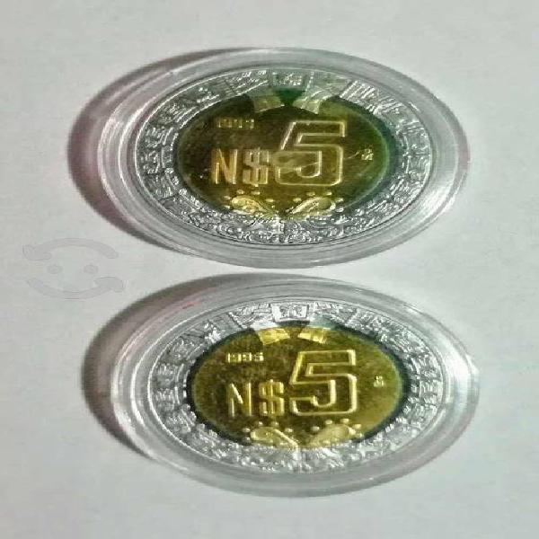 Moneda de 5 nuevos pesos 1995 proof.