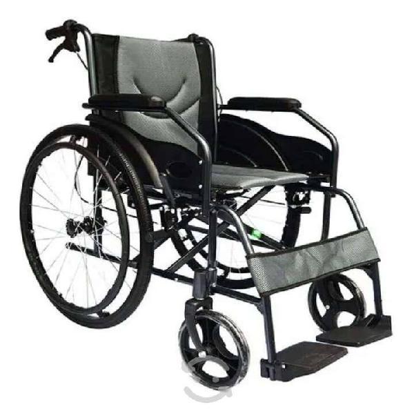 Silla ruedas aluminio ligera plegable gris