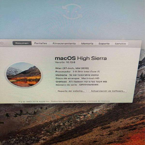 Imac 27 core i5 8gb en ram disco solido de 512 gb