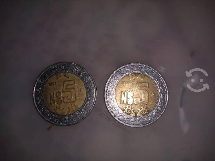 Monedas de $5 nuevos pesos mexicanos 1994