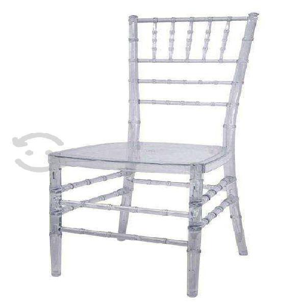 4 sillas tiffany resistente de acrilico uso rudo
