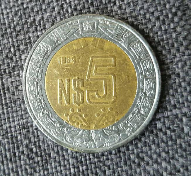 Moneda colecionable de 5 nuevos pesos