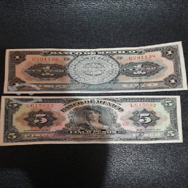 Billetes antiguos de colección en buen estado