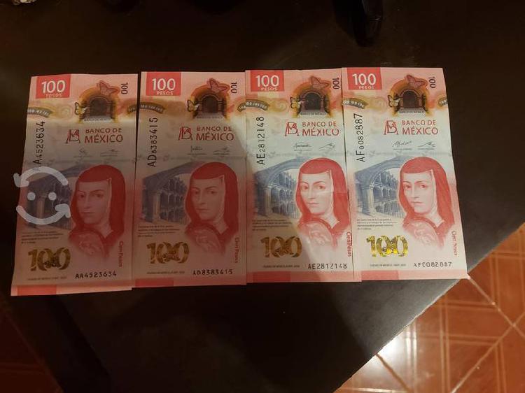 Billetes de 100 pesos serie aa, ad, ae y af
