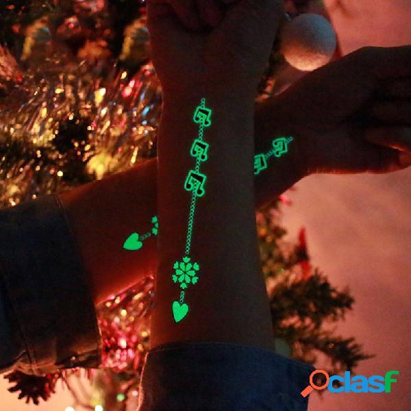 Etiqueta engomada luminosa del tatuaje fiesta festiva tatuajes lindos dibujos animados de navidad pegatinas de tatuaje temporal