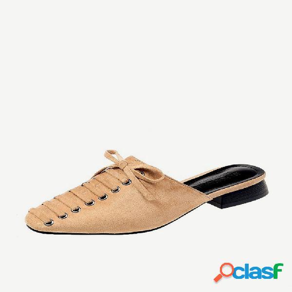 Zapatos de mulas con decoración de bowknot sin espalda de tacón grueso