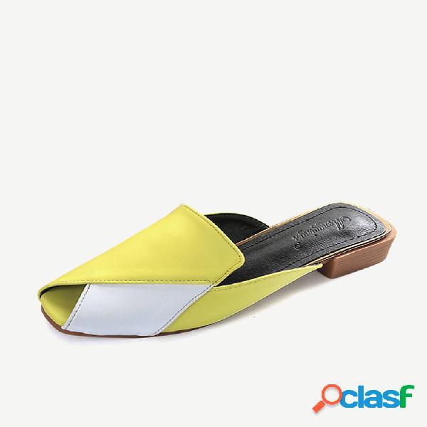 Mujer zapatos mulas informales empalme peep toe tacón grueso sin respaldo sandalias