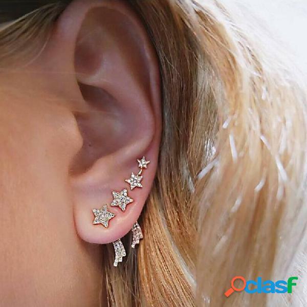 Elegantes aretes colgantes en forma de estrella, con 3 piezas de diamantes de imitación, pendientes de oro, pendientes de aleación para mujer