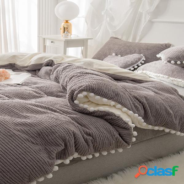 Juego de ropa de cama de terciopelo de cristal de angora de doble cara de lana bereber