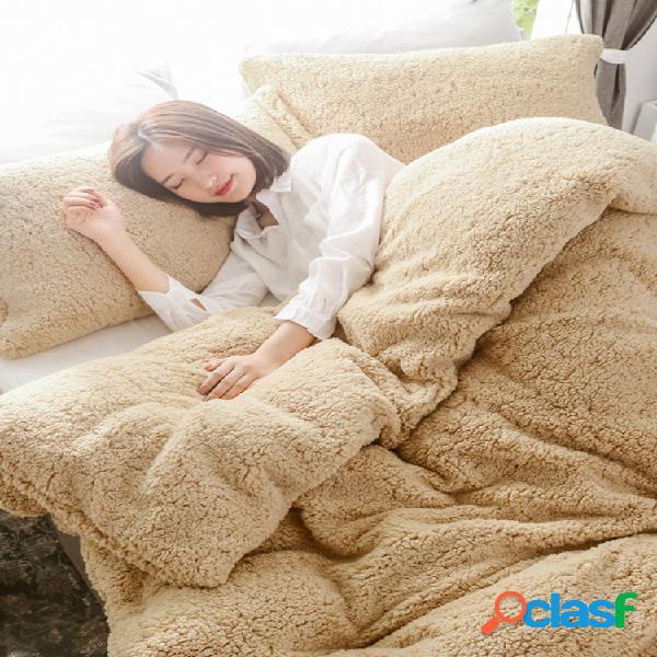 Juego de ropa de cama de terciopelo de piel de oveja de doble cara de 3 piezas, funda de edredón de invierno cálido tamaño queen king
