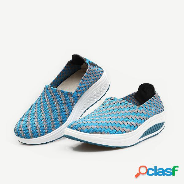 Zapatos planos casuales para caminar con suela de balancín de plataforma de punto