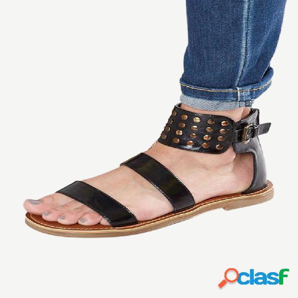 Tamaño grande mujer gladiator rivet zipper plano sandalias