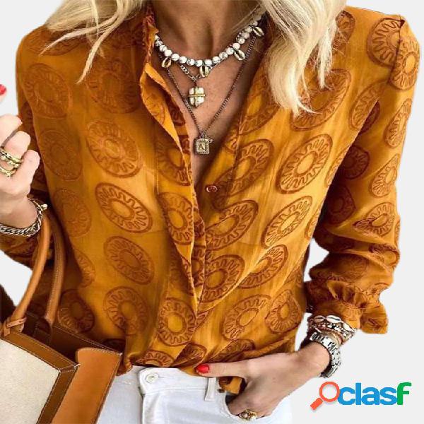 Estampado de lunares manga larga solapa casual camisa para mujer