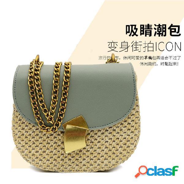 Nueva nueva moda sillín de paja bolsa pu hit color semicírculo diagonal hombro retro pequeño bolso femenino