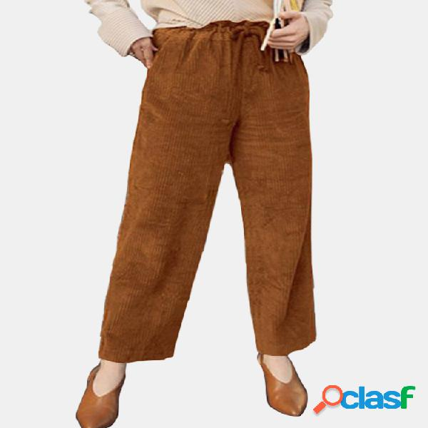 Casual de pana con cintura elástica de color liso pantalones para mujer