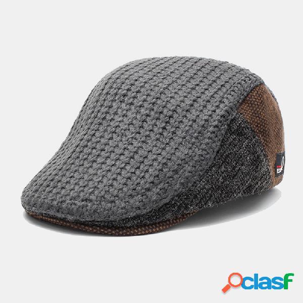 Gorras planas de boina para hombre con costura de tejido de punto moda retro mantener caliente en gorras planas de otoño e invierno
